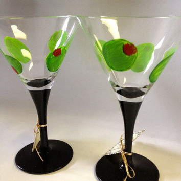 Hand painted Martini Glasses with olives and black glossy stem