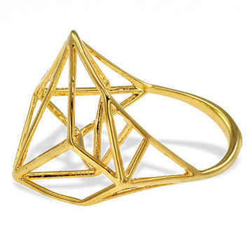 18K Architectural Structure Wide Geometric Gold Ring, 18K Geometric Ring, Fast Free Shipping