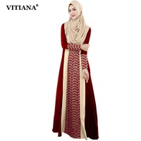 VITIANA 2017 Womens Long Islam Muslim Dress Black Red Long Sleeve Lace patchwork Loose Clothing Islamic abaya Plus Size 7XL