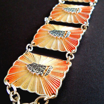 Eloxal Bracelet Vintage Orange Yellow Sunburst Sailboat Art Deco Germany