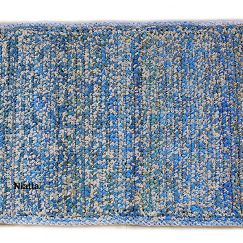 Blue White Plastic Bag Plarn Rug Mat Rectangular Reversible FREE SHIPPING Niatta