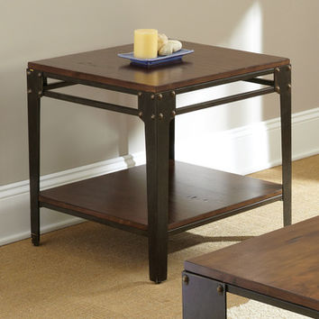 Steve Silver Barrett Square End Table in Distressed Tobacco