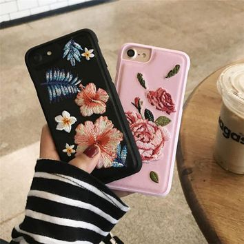 DCCKN6V New 3D Blossom Cherry Flower Petal Embroidery Case Cover for Apple iPhone 7 7plus Case Luxury Fundas for 6 6s Plus Phone Case