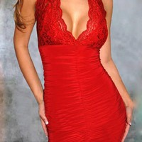 Red Patchwork Lace Cut Out Plunging Neckline Sleeveless Mini Dress