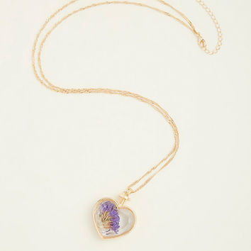 Gold Heart & Lilac Pendant
