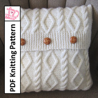 Diamonds and Cable 16 x16 pillow cover - PDF KNITTING PATTERN