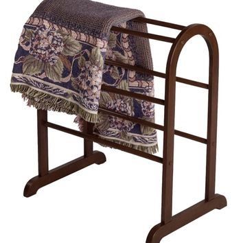 8 pole round top Antique Walnut finish wood Quilt / towel Rack