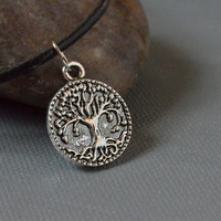 Antique Silver Tree of Life Charm Choker Necklace on Black Leather Cord