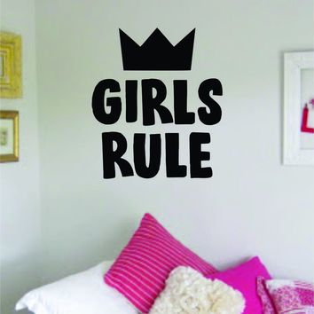 Girls Rule Quote Wall Decal Sticker Decor Vinyl Art Bedrom Cute Daughter Baby Teen Crown Princess