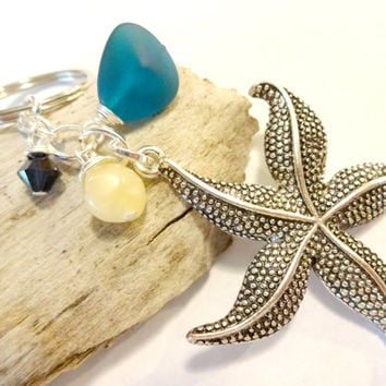 Gift for Beach Lover, Ocean Inspired Sea Glass Keychain, Starfish Key Chain Made With Swarovski Elements, Car Accessories