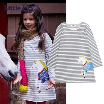 Little J Girl Long Sleeve Horse Appliques Dress Spring Fall Kids Baby Striped Dresses Children Costume Clothes roupa infantil