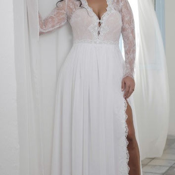 Sexy plus size empire waist bridal dresses with long sleeves