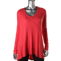 Free People Womens Oversized V-Neck Casual Top
