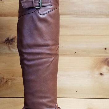 Chuck Brown Leatherette Triple Buckle Thigh High Lug Sole Riding Engineer Boots