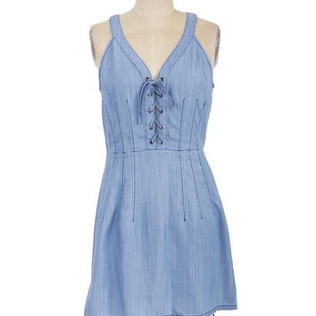 Sleeveless Lace Up Chambray Denim Dress - Medium Wash