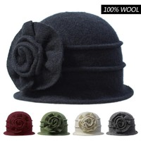 European Autumn Women Wool Hat Soft Elegant Woolen Felt Bucket Foldable Warm Winter Hat For Senior Female Mom Floral Winter Hat