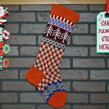 Plaid Hand Knit Christmas Stocking with Orange Cuff, White Trees and Taupe Snowflakes, Fair Isle Knit, can be Personalized, Gift Idea