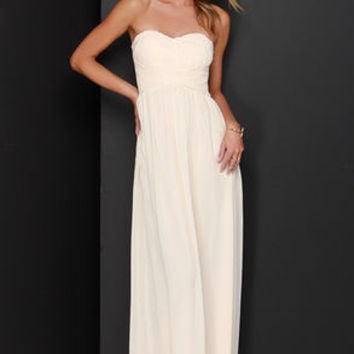 A Star is Born Cream Strapless Maxi Dress