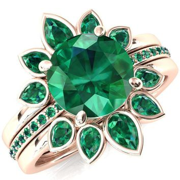 Flora Round Lab-Created Emerald 1/2 Eternity Accent Emerald Ring