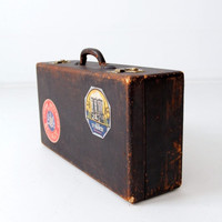 SALE vintage suitcase with travel stickers, black leather luggage