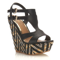 Marrakesh Black Folk Wedge - Miss Selfridge
