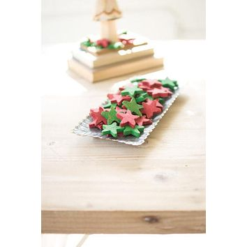 Red & Green Clay Stars - Bag Of 75