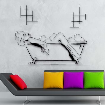 Vinyl Decal Bathroom Decor Hot Sexy Girl Smoking Relaxing in a Bathtub Wall Sticker for Home Unique Gift (ig2337)