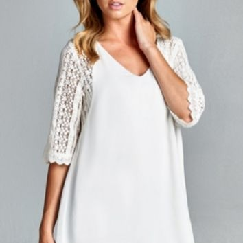 Solid Chiffon Top With V-neckline