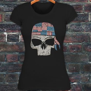 Print Shirts Women Fashion Style American Bandana Flag Badass Skulls Dead Punk Womens Black T-shirt