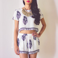 The Dreamers Two Piece Set - Cream/Black
