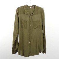 Calypso St. Barth Olive Green Cotton Silk Button Front Shirt Size M