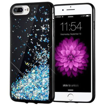 Iphone 7 Plus Case Caka [starry Night Series] Bling Flowing Floating Luxury Liquid Sparkle Tpu Bumper Glitter Case For Iphone 6 Plus/6s Plus/7 Plus/8 Plus (5.5 Inch)   (blue)