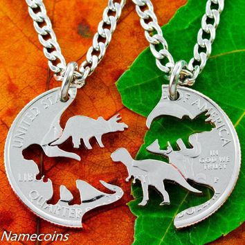 Dinosaur Jewelry, Kids Best Friends Necklaces, T-rex and Triceratops cut quarter by NameCoins