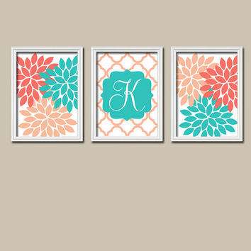 Coral Turquoise Wall Art Girl Child Canvas Artwork Monogram Flower Letter Initial Set of 3 Prints Quatrefoil Decor Bedroom Three
