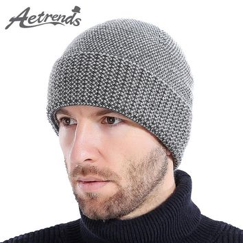 [AETRENDS] 2017 New Winter Beanie Hats for Men Warm Cashmere Feel with Velvet Inside Knitted Beanies Ski Cap Z-6194
