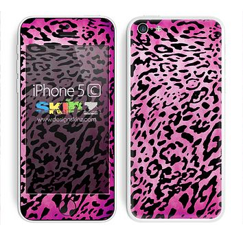Hot Pink Dyed Animal Print Skin For The iPhone 5c