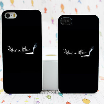 Relax a Little cigarette Style Hard White Skin Case Cover for iPhone 5 5s 5g 4 4s 4g