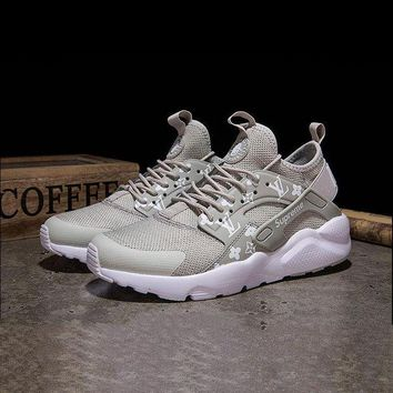 ONETOW LV x Supreme x Nike Air Huarache Custom Grey White Sport Running Shoes