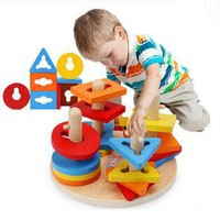 MamimamiHome Baby Wooden Toy Children Early Education Puzzle Waldorf Toys For Children Geometric Paired Puzzle
