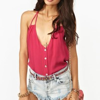 Button Up Tank - Rose