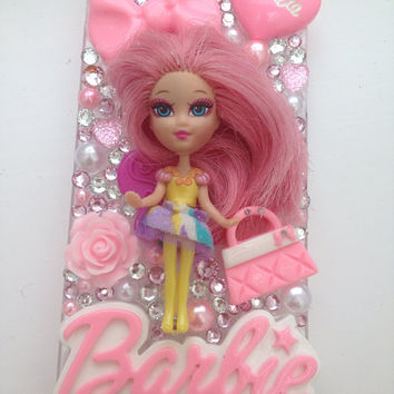 Pretty in Pink Barbie Mini B  Sparkly Crystallised Bling iPhone 5 Protective Cell Phone Case Cover