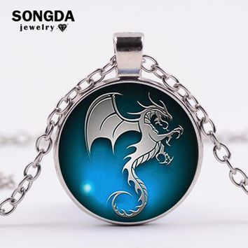 SONGDA 2018 Punk Game of Throne Pterosaur Necklace Handmade Seahorse Art Picture Glass Cabochon Necklace Fantasy Charm Jewelry