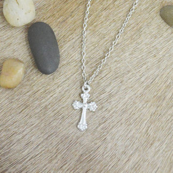 A-187 Cross necklace, Simple Necklace, Modern necklace, Silver plated/ Bridesmaid gifts / Everyday jewelry /