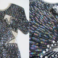 shooting star sequin dress . navy silver beaded bodycon  .extra small.xs