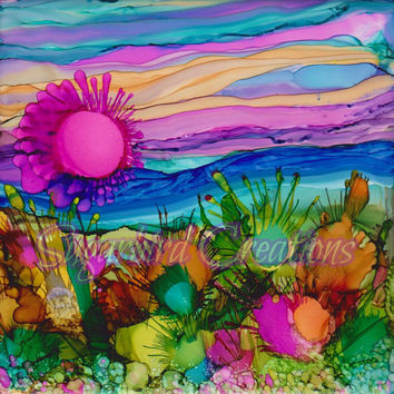 Desert Sun Alcohol Ink Painting on Ceramic Tile with Black Frame