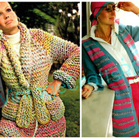2 Knitting Patterns Instant Download 1970s Multi-Colored Bulky Jacket uses garter stitch & Striped Long Cardigan-Vintage Knitting Pattern