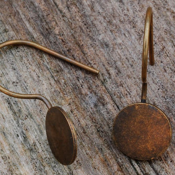 Antique Bronze Brass Earring Hooks with an 8mm glue on pad 10pcs Jewellery Findings Jewellery Making diyforstyle