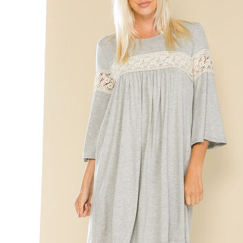 Heather Gray Bell Sleeve Crochet Trim Swing Dress