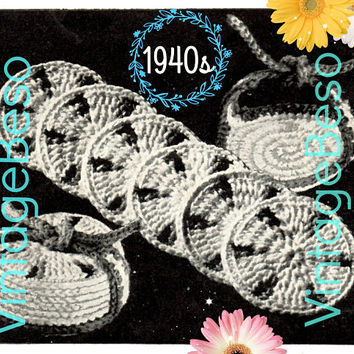 Drip Catchers Coasters CROCHET Pattern • PdF Pattern • Vintage 1940s • Digital Pattern • Retro 1940s Potholder Set with Case • Gift