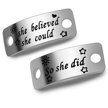 Ensianth She Believed She Could So She Did Shoe Lace Tag Sports Jewelry Inspirational Gift Trainer Tags Gift For Runner